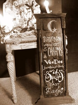 Spell sign and chair
